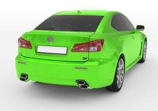 Carro isolado no branco - pintura verde, vidro matizado - s para trás-direito ilustração do vetor