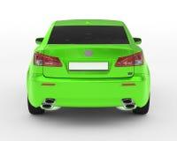 Carro isolado no branco - pintura verde, vidro matizado - vista traseira Fotos de Stock