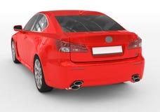 Carro isolado no branco - pintura vermelha, vidro matizado - lado para trás-esquerdo ilustração royalty free