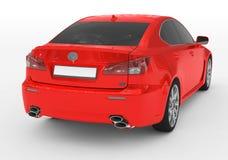 Carro isolado no branco - pintura vermelha, vidro matizado - sid para trás-direito ilustração stock