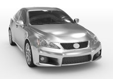 Carro isolado no branco - prata, vidro matizado - lado dianteiro-direito ilustração do vetor