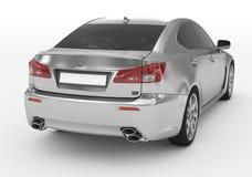 Carro isolado no branco - prata, vidro matizado - lado para trás-direito v ilustração royalty free