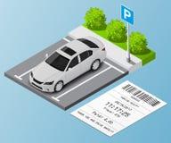 Carro isométrico da ilustração no parque de estacionamento e nos bilhetes de estacionamento ilustração royalty free