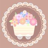 Carro lindo en colores pastel de la flor con el fondo del cordón Imagenes de archivo