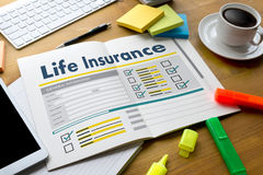 Carro médico da casa da casa da proteção sanitária do conceito do seguro de vida Foto de Stock