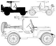 Carro militar retro do vintage com a metralhadora no vetor branco 01 do fundo ilustração royalty free