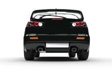 Carro moderno poderoso preto no fundo branco - vista traseira ilustração royalty free
