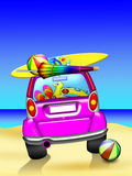 Carro na praia Imagens de Stock Royalty Free