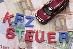 Carro nas contas de dinheiro Foto de Stock Royalty Free