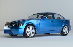 Carro no fundo cinzento do estúdio - pintura azul ilustração royalty free
