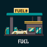 Carro no posto de gasolina no estilo liso Imagens de Stock Royalty Free