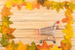 Carro no quadro feito das folhas de bordo coloridas Imagem de Stock
