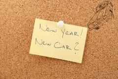 Carro novo da etiqueta do ano novo Fotos de Stock