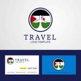 Carro ocidental do logotipo e do negócio da bandeira de Sahara Creative Circle do curso ilustração stock