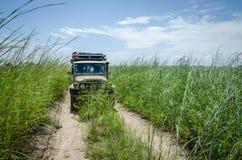 Carro 4x4 offroad clássico na trilha coberto de vegetação com grama alta em Angola do norte, África Fotografia de Stock