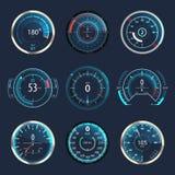 Carro ou velocímetro ou odômetro do automóvel ilustração royalty free