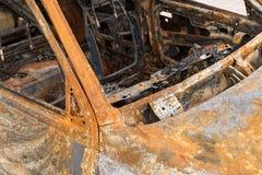Carro para fora queimado interior Imagens de Stock Royalty Free
