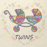 Carro para los gemelos Coloree la tarjeta Ejemplo en estilo del garabato y de la historieta ilustración del vector