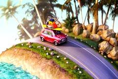 Carro para viajar com uma grade de tejadilho em uma estrada da montanha ilustração 3D Fotos de Stock Royalty Free