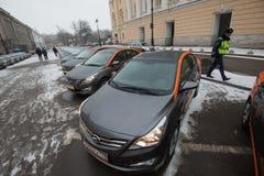 Carro-partilha - a abertura de um aluguer de carros novo do serviço pelo minut Imagens de Stock