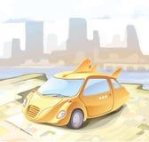 carro pequeno Retro-denominado da cidade. Imagens de Stock Royalty Free