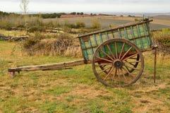 Carro pitoresco dos bois perdidos de Manolo In Becerril Curso do transporte das paisagens fotos de stock