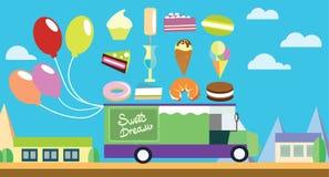Carro plano del arte del día de fiesta con helado y dulces Fotos de archivo