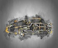 Carro preto do músculo da velha escola com detalhes de incandescência dourados ilustração stock
