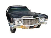 Carro preto velho isolado contra um fundo branco Imagens de Stock Royalty Free