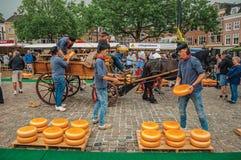 Carro que lleva de la gente joven con queso en el extremo de la feria de la plaza del mercado en Gouda Imagen de archivo