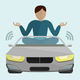 Carro que move-se sem um motorista ilustração royalty free