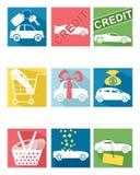 Carro que vende ícones ilustração do vetor