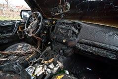 Carro queimado fotografia de stock royalty free