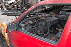 Carro queimado Imagens de Stock