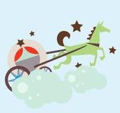 Carro real de la princesa sobre las nubes Imágenes de archivo libres de regalías