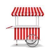 Carro realista de la comida de la calle con las ruedas Plantilla roja móvil de la parada del mercado Carro del mercado de la tien stock de ilustración