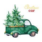 Carro retro abstrato do Natal com árvores de Natal e outras decorações ilustração stock