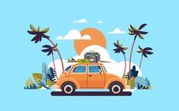 Carro retro com bagagem da praia tropical do por do sol do telhado no plano surfando do cartaz do molde do cartão do vintage ilustração do vetor