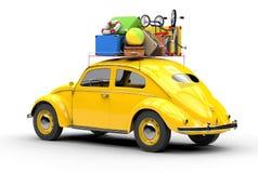 Carro retro com malas de viagem em um fundo branco, palma atrás ilustração 3D Imagens de Stock Royalty Free