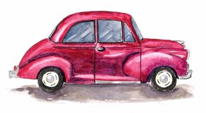 Carro retro da aquarela Automóvel clássico tirado mão ilustração royalty free