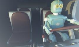 Carro retro do drave do robô Carro autônomo do transporte e da auto-condução ilustração royalty free