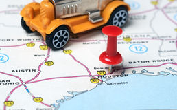 Carro retro do mapa de Houston EUA Fotografia de Stock Royalty Free