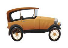 Carro retro dos desenhos animados do vintage no vetor branco do fundo Imagem de Stock