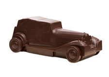 Carro retro feito do chocolate escuro Fotografia de Stock