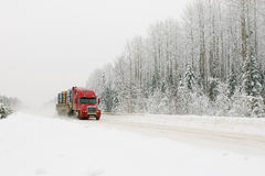 Carro rojo en el camino del invierno Fotografía de archivo