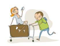 Carro sobrecarregado da bagagem ilustração royalty free