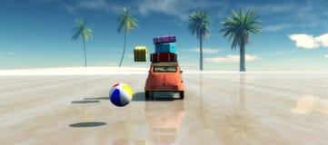 carro, Sun e praia Imagens de Stock