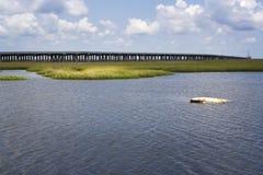Carro Sunken y puente magnífico de la isla, Luisiana Fotografía de archivo libre de regalías