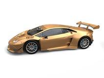 Carro super luxuoso do ouro com detalhes azuis ilustração stock