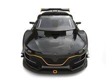 Carro super preto impressionante com detalhes amarelos - vista superior dianteira ilustração do vetor